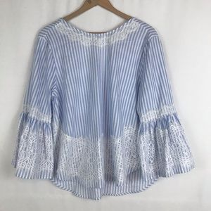 Zara Ivory Blue Striped Lace Peasant BOHO Sz Med